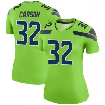 Women's Seattle Seahawks Chris Carson Green Legend Color Rush Neon Jersey By Nike