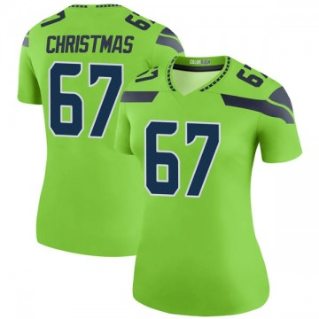 Women's Seattle Seahawks Demarcus Christmas Green Legend Color Rush Neon Jersey By Nike
